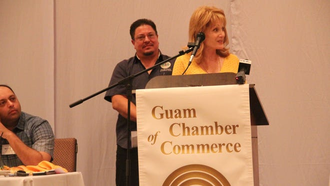 Attorney Melinda Swavely and Guam Department of Labor administrator Greg Massey answer questions at the Guam Chamber of Commerce monthly membership meeting Wednesday, April 26 at the Sheraton Laguna Guam.