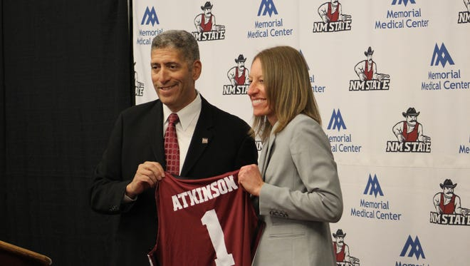 Former CSU assistant women's basketball coach Brooke Atkinson, right, has been hired as the head coach at New Mexico State.