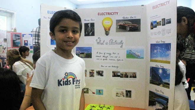 Vihaan Yadav with his project, Electricity.