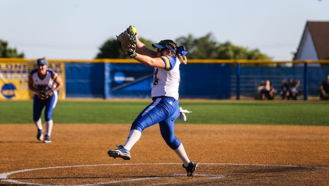 Angelo State University's Brandy Marlett pitched a no-hitter Saturday for the Rambelles' softball team.