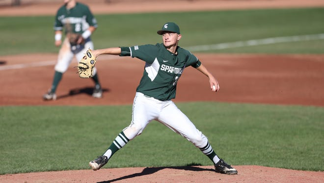 Michigan State pitcher Alex Troop only allowed two hits while striking out 10 in Michigan State's 6-1 win over Michigan on Thursday.