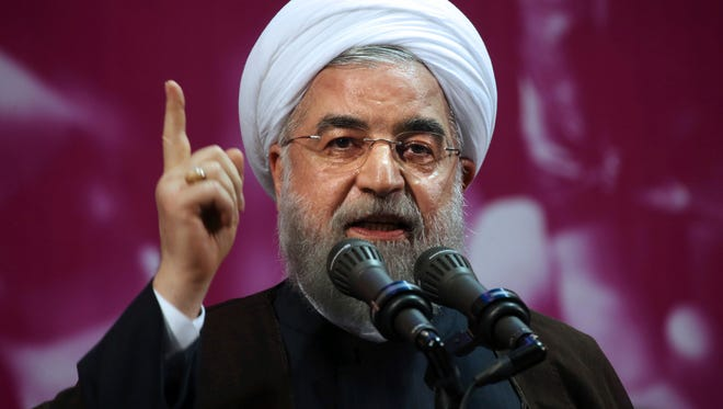 Iranian President Hassan Rouhani is pictured speaking at a campaign rally.