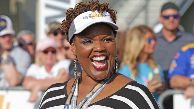 Opera Singer Angela Brown walks the red carpet during the 100th running of the Indianapolis 500, at the Indianapolis Motor Speedway, Sunday May 29th, 2016.