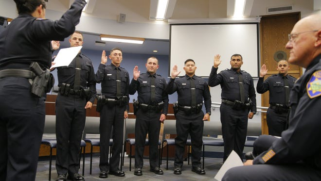 Six new Salinas police officers were welcomed to the department on Wednesday,.