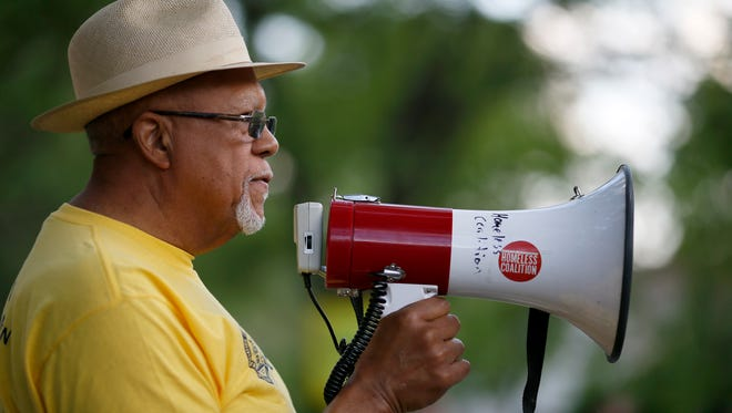 Robert Richardson, of the Cincinnati NAACP, speaks to lend his organizations support to the Black Lives Matter Cincinnati group during a rally at Inwood Park in the Mt. Auburn neighborhood of Cincinnati on Wednesday, May 31, 2017.