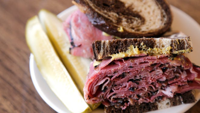 A pastrami sandwich is posed at Shapiro's Delicatessen in Indianapolis, Ind., on Thursday, May 25, 2017. The 111-year-old family-owned business is opening its first Cincinnati location in Blue Ash. The Kosher-style deli is set to open in June.