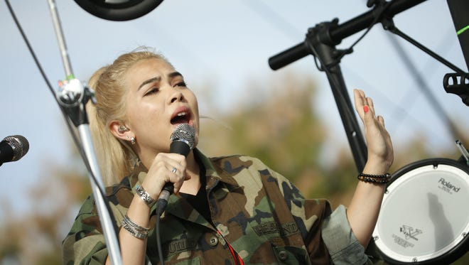 Patrick Breen/The Republic Hayley Kiyoko sings while performing at the McDowell Mountain Music Festival on March 4 in Phoenix. Hayley Kiyoko sings while performing at the McDowell Mountain Music Festival on March 4, 2017 in Phoenix.