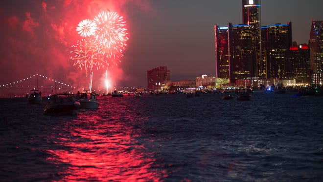 The Ford Fireworks Celebration lights up the night sky on the Detroit River in between Canada and the United States on Monday, June 27, 2016.