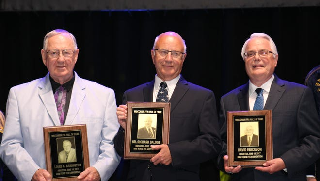 Inducted into the Wisconsin FFA Hall of Fame during the 88th Wisconsin State FFA Convention were (from left) Dr. Louis C.Arrington, Dr. Richard Daluge and David Erickson.
