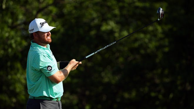 J.B. Holmes plays his shot from the fourth tee during the second round of the U.S. Open golf tournament at Erin Hills.
