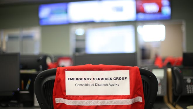 A room set for emergency service workers has been expanded to full capacity in anticipation of tropical storms that have formed along Gulf Coast at the Consolidated Dispatch Agency on Monday, June 19, 2017.