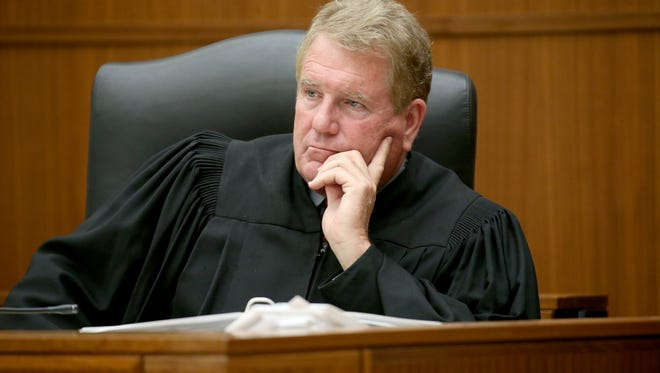 Judge Thomas Moran during opening statements in the Craig Rideout murder case.
