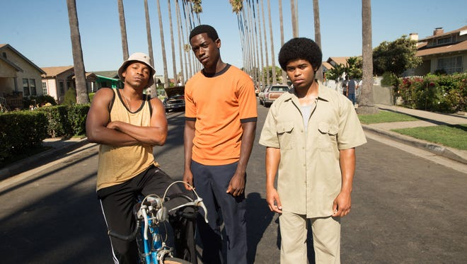 Kevin (Malcolm Mays, left), Franklin (Damson Idris) and Leon (Isaiah John) are friends involved in drug dealing in FX's 'Snowfall.'