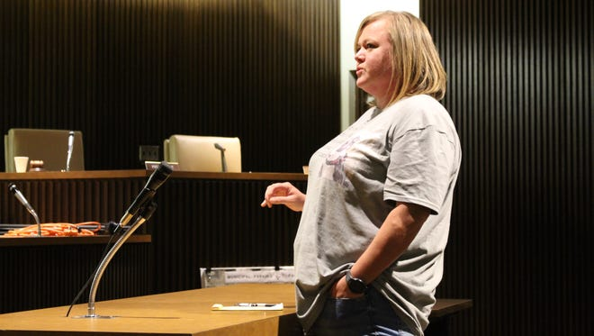 Missy Houghton, director of the Humane Society of Richland County, speaks before Mansfield City Council members during a safety committee meeting Tuesday, June 27, 2017. Houghton said the shelter advocates for non-breed-specific legislation and spay/neuter requirements.