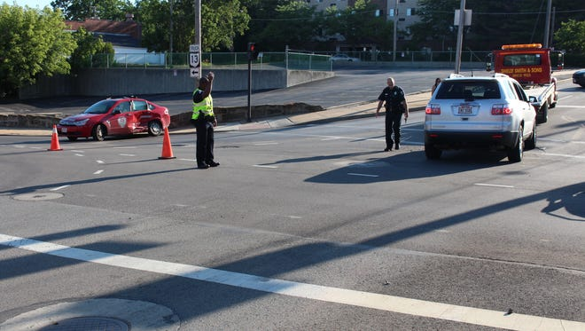 At least two people were injured in a crash at South Main and Second streets Sunday, July 2, 2017. A vehicle driven by a Superior Driving Academy employee ran a red light on South Main and struck another vehicle, police reported.