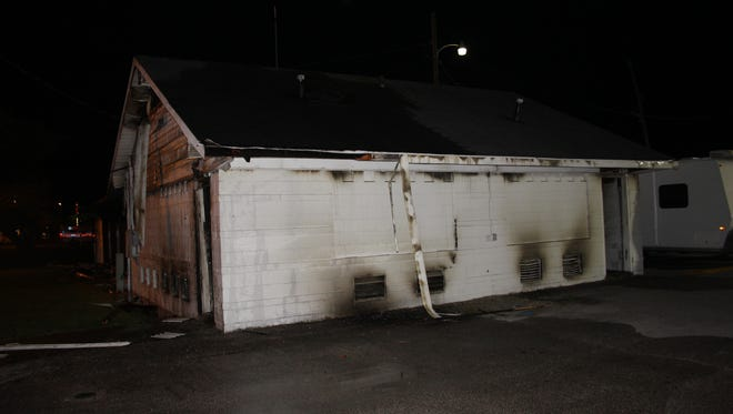 The aftermath of Thursday night's fire inside a shelter at the Tippecanoe County Fairgrounds. Arson has been ruled as the cause.