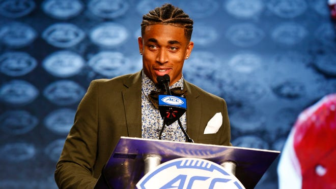Jul 13, 2017; Charlotte, NC, USA; Louisville Cardinals cornerback Jaire Alexander speaks to the media during the ACC Kickoff at the Westin Charlotte.