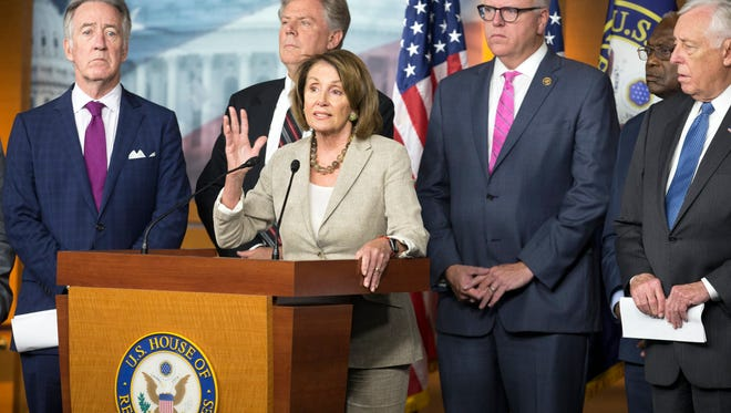 epa06114835 House Minority Leader Democrat Nancy Pelosi (C) joins other House Democrats during a news conference to discuss health care following the failed effort by Senate Republicans to pass a limited repeal of the Affordable Care Act (ACA or Obamacare), on Capitol Hill in Washington, DC, USA, 28 July 2017. Senate Republicans latest effort to repeal the ACA fell short during an overnight session when three Republican Senators voted against the 'skinny repeal'.  EPA/MICHAEL REYNOLDS