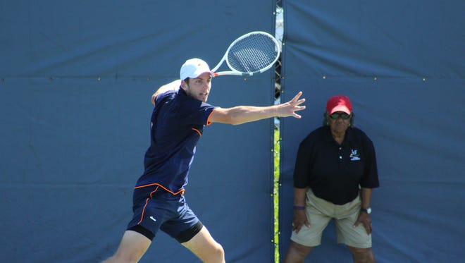 Cameron Norrie lines up a return during the LG&T Challenger singles final Sunday at Recreation Park in Binghamton.