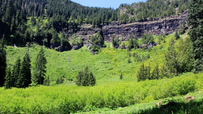 A cliff-walled meadow is seen along the Pyramid Trail in the Old Cascades in Willamette National Forest southeast of Detroit.