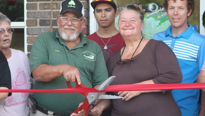 Owners Leo and Nettie Rodgers of the Elk Harbor Lakeside Campground General Store and Cafe in Cumberland City cut the ribbon at the special opening of their new business by the Stewart County Chamber of Commerce. The couple is  from South Florida, and enjoyed camping so much they decided to open their own RV Park in Tennessee.
