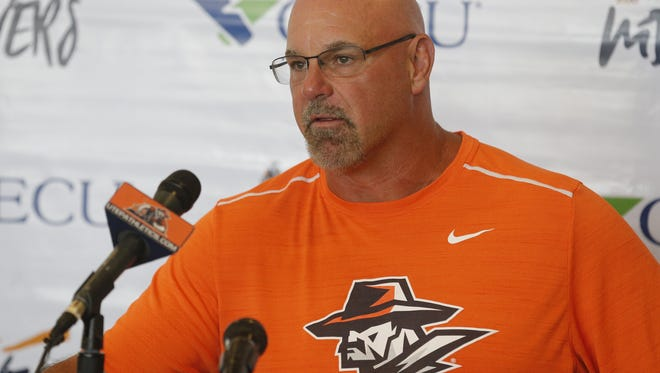 UTEP coach Sean Kugler speaks at a recent weekly press conference. Kugler resigned Sunday.