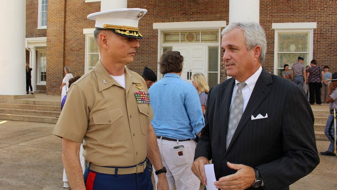 Marion Military Institute President, retired Marine Col. David Mollahan, chats with MMI trustee Dean Mooty Jr. following the 175th anniversary of the school. Alvin Benn/Special to the Advertiser