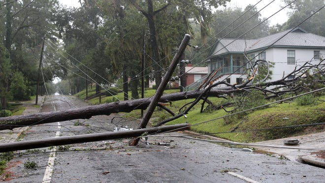 Seventh Avenue was blocked Monday morning by power lines and a tree brought down by Irma.