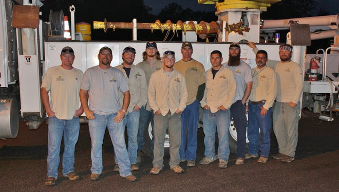 Brandon Bailey, Shane McBroom, Pearce Deaton, Tanner Cary, Josh Owen, Jack Brown, Josh Gonzalez, Donald Young, Tim Curlin and Chris Austin are local utility linemen headed to help in Georgia.