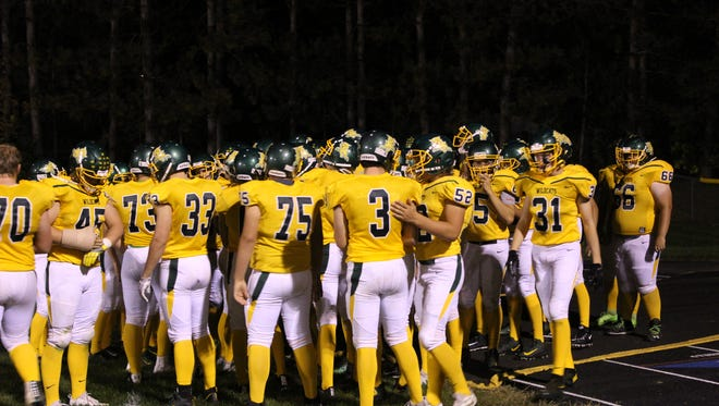 The Edgar football team prepares to come on the field for the second half Friday night.