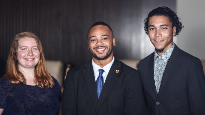 (From left to right) Mansfield City Council intern Olivia Hoppe, Mansfield City Councilman-at-large Don Bryant and Mansfield City Council intern Kyle Weese