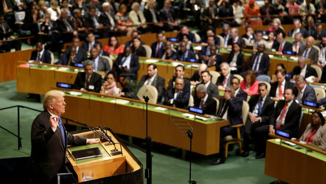 President Donald Trump speaks during the United Nations General Assembly at U.N. headquarters Tuesday.