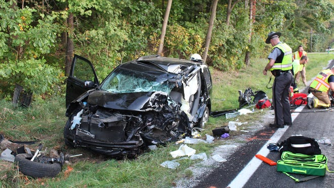The driver of a car that crashed into a tree on Ohio 546 near Lexington High School has died,the Ohio State Highway Patrol reported Sunday, Sept. 24, 2017. Michael Helinski, 45, of Lexington was the driver.