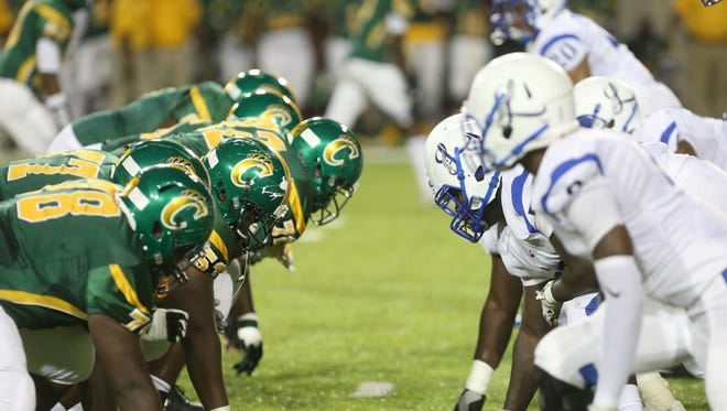 "Carver and Lanier lined up during the ""West Side Classic"" held at the Cramton Bowl in Montgomery, Ala."