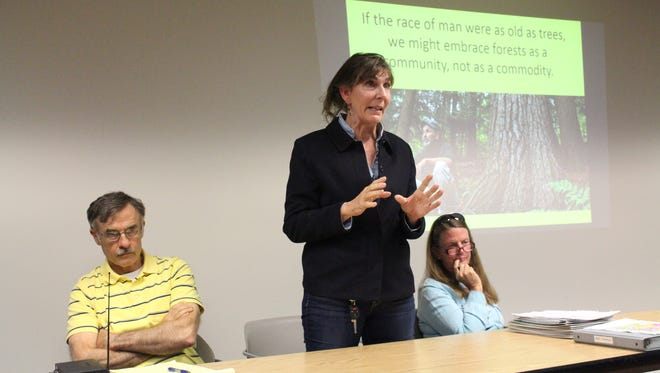 (From left to right) Eric Miller with the North Central Ohio Land Conservancy, Cheryl Harner with the Richland County Park District and Annette McCormick, who served on the Mohican ad hoc committee in the 1990s, act as panelists during a public forum at the Mansfield-Richland County Public Library on Tuesday, Oct. 3, 2017. The forum was held in response to the Ohio Division of Forestry's proposed changes to the five-year management plan for Mohican-Memorial State Forest.