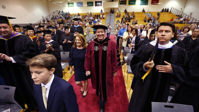 Dr. Anthony J. Iacono and family get a warm welcome from students, faculty and alumni during the procession into his Inauguration as the third president of the County College of Morris. October 6, 2017. Randolph, New Jersey