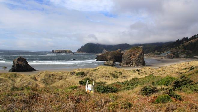 Views of Meyers Creek Beach on the Oregon Coast south of Gold Beach.