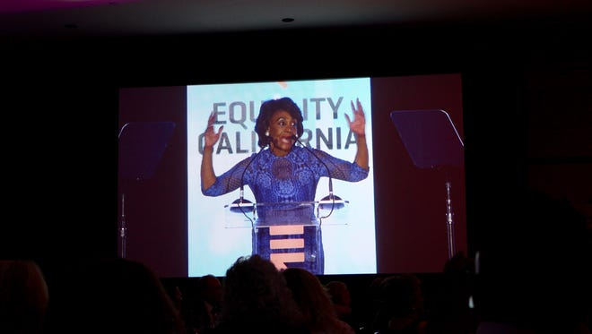 """Congresswoman Maxine Waters (D-Calif.) repeats her now-famous declaration """"Reclaim my time"""" on Oct. 7 at Equality California's Palm Springs gala at the Riviera Resort."""