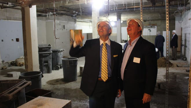 David Carcieri (president and CEO of Somerset County YMCA) and Mark Irwin (chairman of Somerset County YMCA Board of Directors) take a look at the progress of the renovations at the Somerville branch of the YMCA