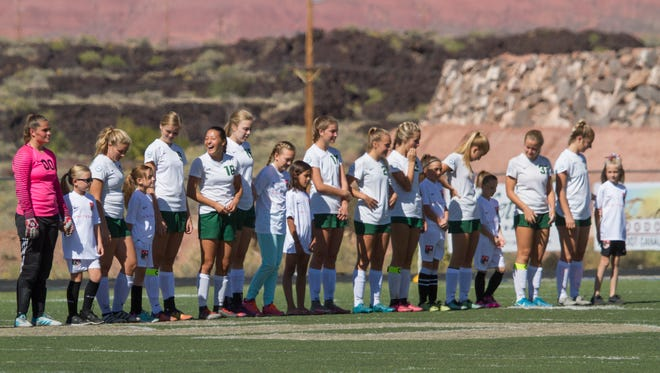 Snow Canyon girls soccer battles Logan High Saturday, Oct. 14, 2017.