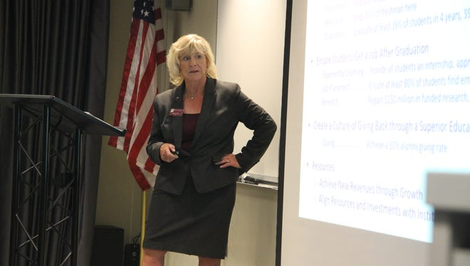 New Mexico State University Regent Debra Hicks discusses criteria for the next NMSU chancellor at a listening session Monday, Oct. 16, 2017. The Board of Regents is hosting listening sessions in Las Cruces, Albuquerque and the four university branches this week.