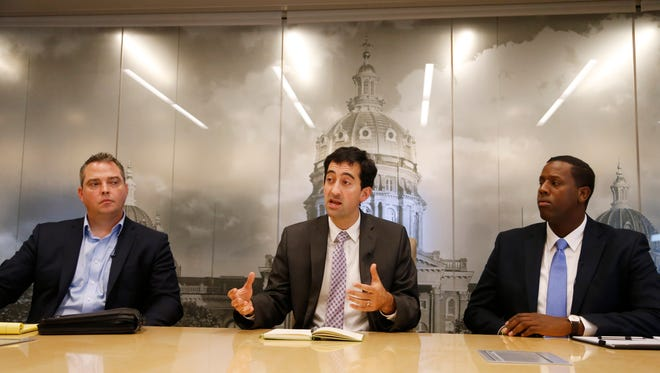 From left: Des Moines City Council candidates Michael Kiernan, Josh Mandelbaum and Abshir Omar meet with The Des Moines Register editorial board Oct. 17.