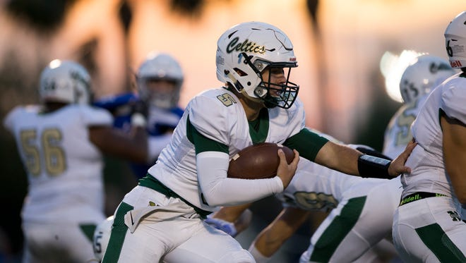 St. John Neumann quarterback Jensen Jones (5) moved into the top four rushing leaders this week after racking up 301 yards on the ground last Friday against Evangelical Christian.