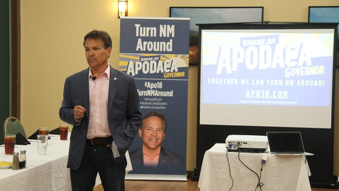 Governor candidate Jeff Apodaca, discusses education, job opportunities and the economy in Carlsbad Monday Oct. 23, 2017. Apodaca visited southeast New Mexico as part of his campaign APO Tour. Apodaca, a democrat, is the son of a former New Mexico governor.