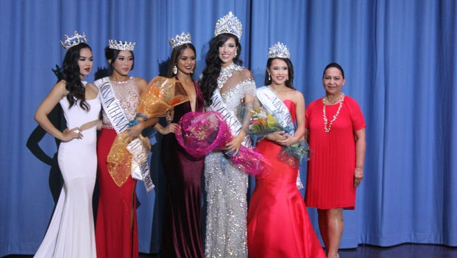 From left: 2016 Miss International Guam, Annalyn Buan; 2017 Miss International Guam, Diliana Tuncap; 2016 Miss Universe Guam, Muneka Joy Cruz Taisipic; 2017 Miss Universe Guam, Myana Welch; 1st runner-up, Maricia Mariano and Mrs. Joyce Bamba, National Director.