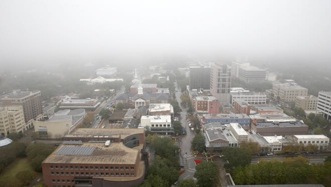 The view looking north, over downtown Tallahassee, from the 22nd floor of the Capitol.