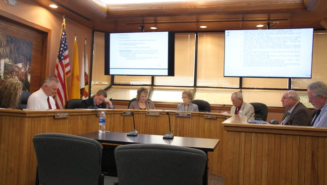Eddy County Commissioners discuss business on Tuesday, Nov. 7, 2017.