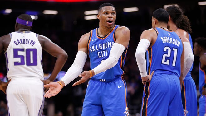 Oklahoma City Thunder guard Russell Westbrook (0) talks to a referee after a play against the Sacramento Kings in the third quarter at Golden 1 Center.