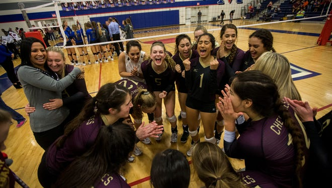 Tuloso Midway players celebrate after defeating Kerrville Tivy in regional final on Saturday, Nov. 11, 2017.
