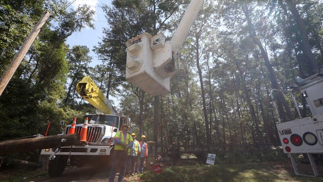 File art: Out-of-state linemen make electric repairs on Ox Bottom Road several days after Hurricane Hermine struck.
